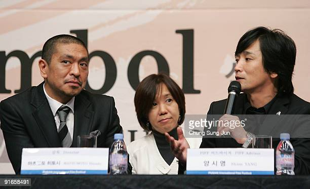 Director and actor Hitoshi Matsumoto and PIFF advisor Yang Si-Young attend a at the Press Conference-Gala Presentation 'Symbol' during the 14th Pusan...