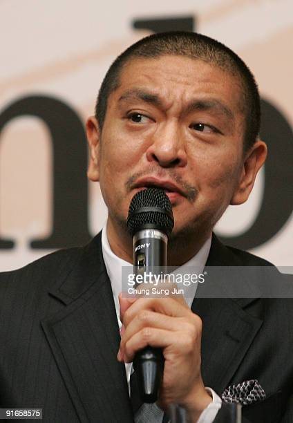 Director and actor Hitoshi Matsumoto attends a Press Conference-Gala Presentation 'Symbol' during the 14th Pusan International Film Festival at the...