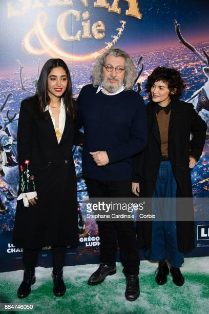 Director and actor of the movie Alain Chabat and actresses Golshifteh Farahani and Audrey Tautou attend the Santa Cie Paris Premiere at Cinema Pathe...