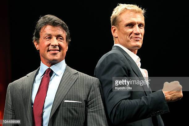 Director and actor Sylvester Stallone and actor Dolph Lundgren pose during the premiere of 'The Expendables' at Shibuya-AX on September 26, 2010 in...