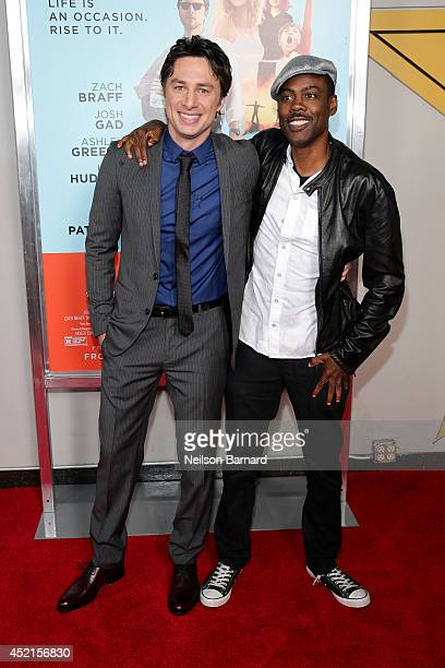 Director and actor Zach Braff and Comedian Chris Rock attend the 'Wish I Was Here' screening at AMC Lincoln Square Theater on July 14 2014 in New...