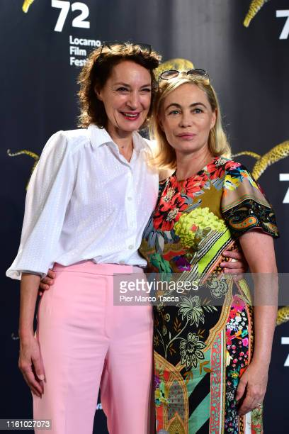 Director and Actress Jeanne Balibar andnActress Emmanuelle Beart attend the 'Merveilles a Montfermeil' during the 72nd Locarno Film Festival on...