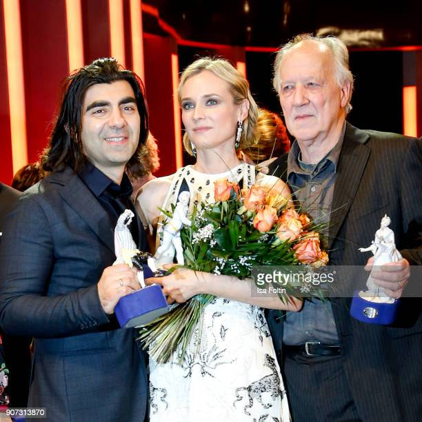 Director and award winner Fatih Akin actress and award winner Diane Kruger and Director and award winner Werner Herzog attend the Bayerischer...