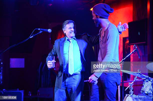 Director and Celebrity Photographer Kevin Mazur and musician Gary Clark Jr onstage at the after party for the premiere of $ellebrity at the Hard Rock...