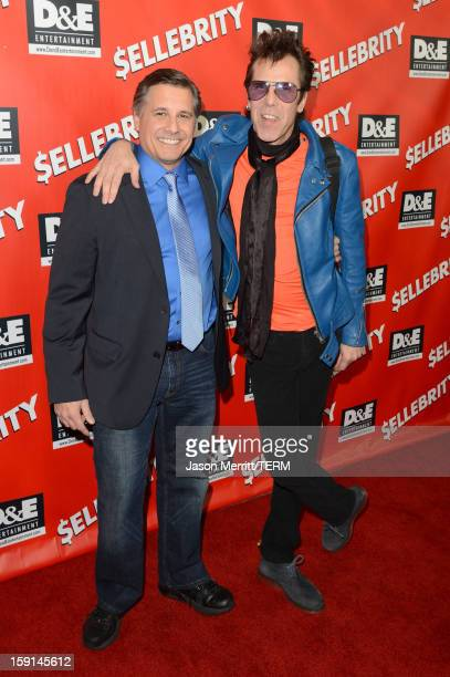 Director and Celebrity Photographer Kevin Mazur and musician Slim Jim Phantom arrive at the premiere of $ellebrity at Mann's 6 Theatre on January 8...
