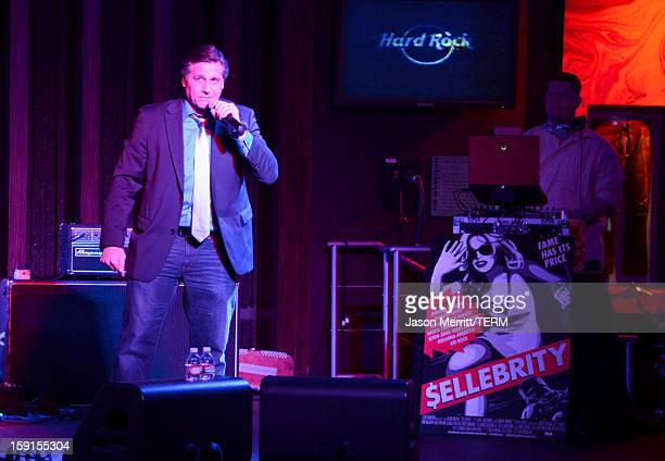 Director and Celebrity Photographer Kevin Mazur speaks onstage at the after party for the premiere of $ellebrity at the Hard Rock Cafe on January 8...