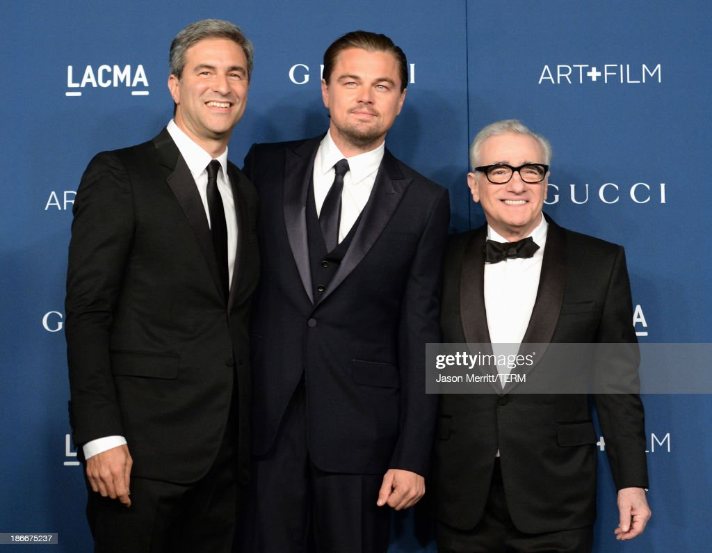 Director and CEO Michael Govan, Gala Co-Chair Leonardo DiCaprio and honoree Martin Scorsese, wearing Gucci, attend the LACMA 2013 Art + Film Gala honoring Martin Scorsese and David Hockney presented by Gucci at LACMA on November 2, 2013 in Los Angeles, California.