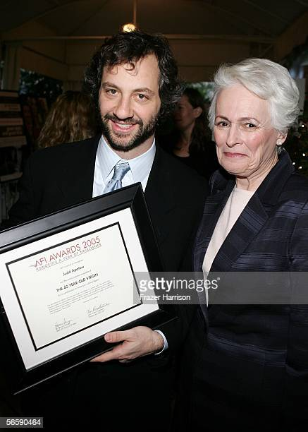 Director and CEO of AFI Jean Picker Firstenberg and Director Judd Apatow poses with his AFI AWARDS 2005 Honoring A Year of Excellence award during...