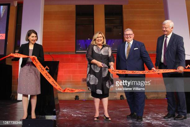 Director and CEO of Australian Museum, Kim McKay is joined by Premier of NSW Gladys Berejklian, NSW Minister for the Arts Don Harwin and President of...