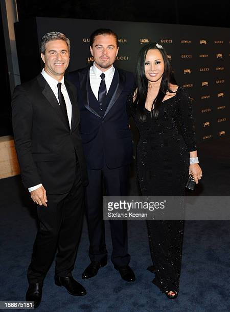 Director and CEO of LACMA Michael Govan actor Leonardo DiCaprio and LACMA trustee and cochair Eva Chow in Gucci attend the LACMA 2013 Art Film Gala...