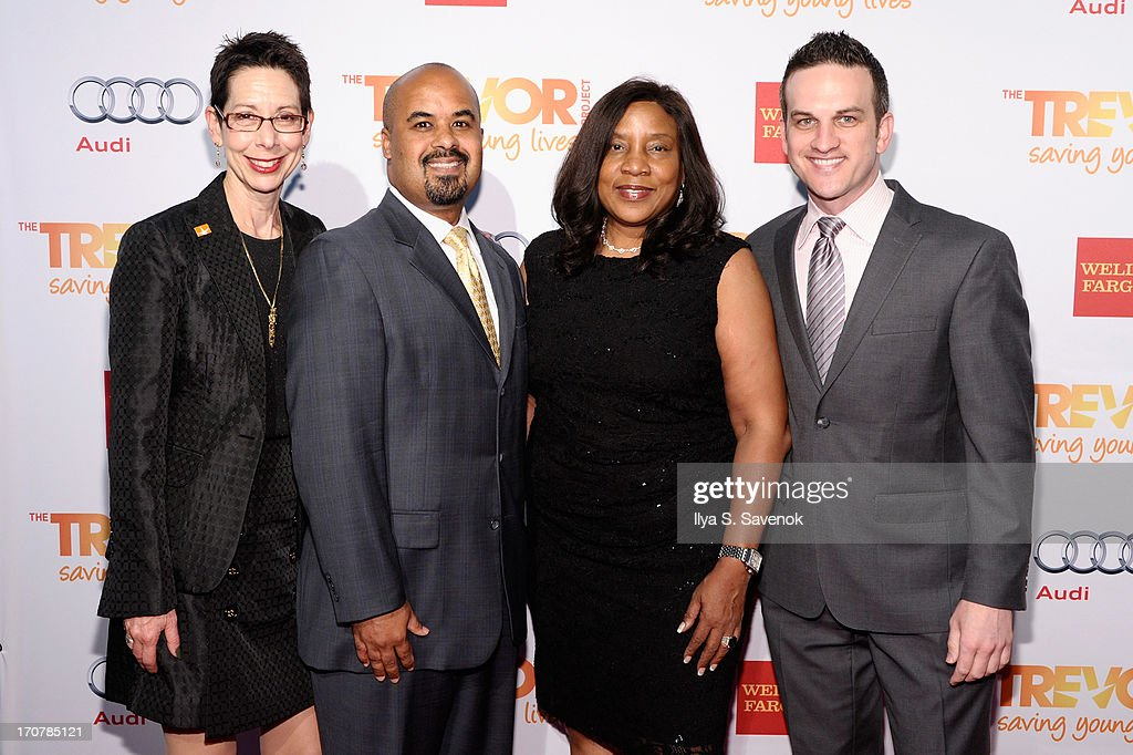 Director and CEO of the Trevor Foundation Abbe Land, Jose Rivera, Michelle Lee and Jeffrey Paul Wolff attend The Trevor Project's 2013 'TrevorLIVE' Event Honoring Cindy Hensley McCain at Chelsea Piers on June 17, 2013 in New York City.