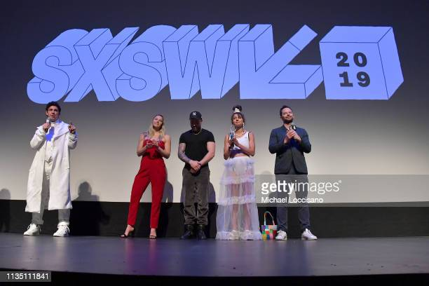 Director and cowriter Jeremy Teicher actors and Olympic athletes Morgan Schild Gus Kenworthy and Alexi Pappas and actor and cowriter Nick Kroll...