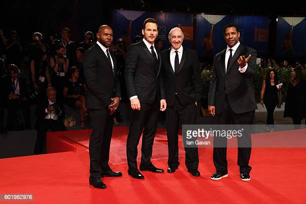 Director and executive producer Antoine Fuqua actor Chris Pratt Walter Mirisch and Actor Denzel Washington attend the premiere of 'The Magnificent...
