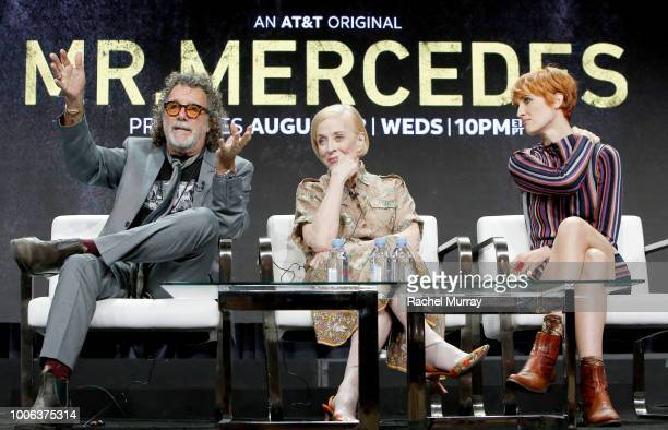 Director and Executive Producer Jack Bender actors Holland Taylor and Breeda Wool speak onstage during the ATT AUDIENCE Network's 'Mr Mercedes' panel...