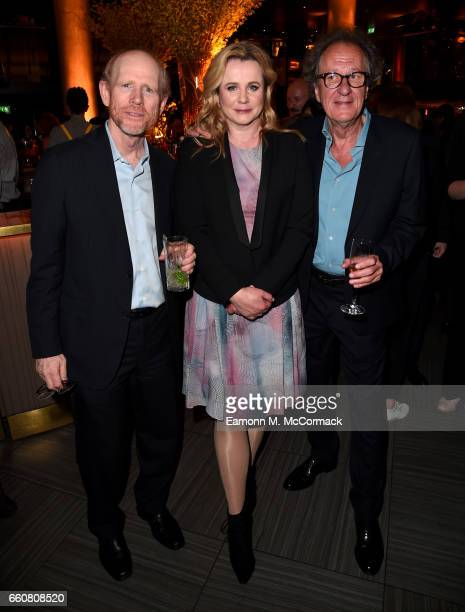 Director and Executive Producer Ron Howard and actors Emily Watson and Geoffrey Rush attend a reception for the London Premiere Screening for...