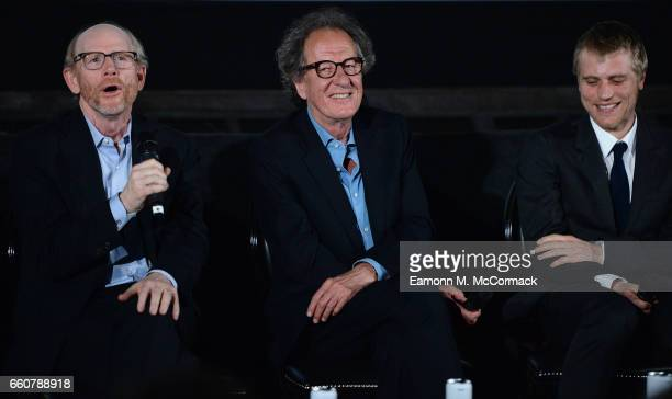 Director and executive producer Ron Howard and actors Geoffrey Rush and Johnny Flynn on stage during a QA session after the London Premiere Screening...