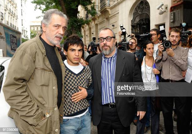Director and president of Spain's Academy of Cinema Alex de la Iglesia director Fernando Trueba and actor Abel Ayala after the unveiling of the movie...