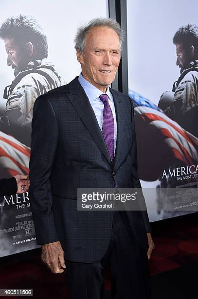 Director and Producer Clint Eastwood arrives at the 'American Sniper' New York Premiere at Frederick P Rose Hall Jazz at Lincoln Center on December...