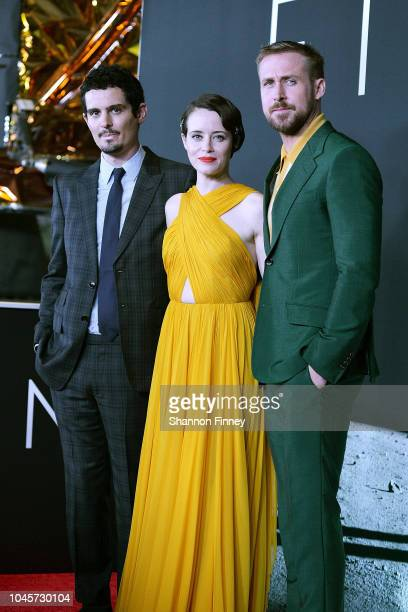 Director and producer Damien Chazelle and actors Claire Foy and Ryan Gosling attend the First Man premiere at the National Air and Space Museum on...