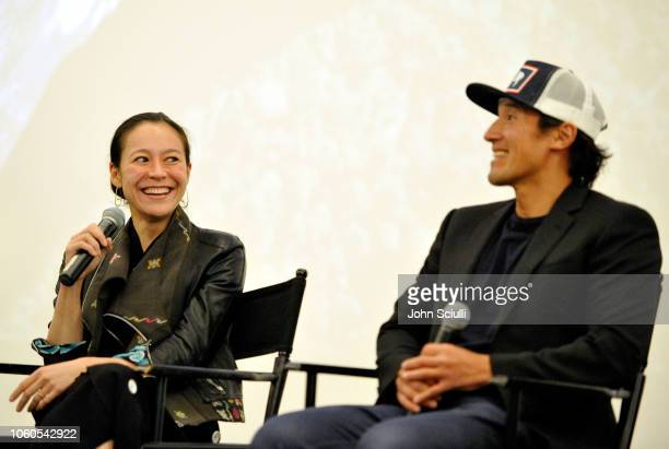 Director and producer Elizabeth Chai Vasarhelyi and director producer and cinematographer Jimmy Chin attend the screening of Free Solo hosted by Tim...