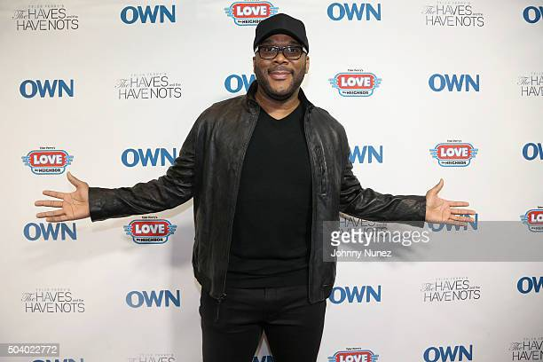 Director and Producer Tyler Perry attends the OWN Press Lunch with Tyler Perry and the casts of 'The Haves and the Have Nots' and 'Love Thy Neighbor'...