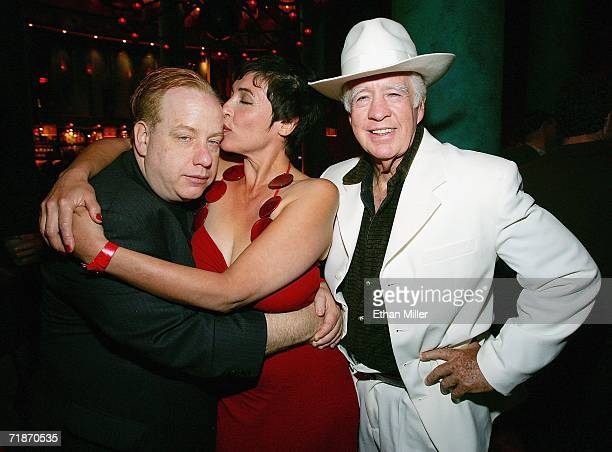 """Director and """"Project Greenlight"""" winner John Gulager, actress Diane Goldner, and Gulager's father, actor Clu Gulager, pose during the after party at..."""