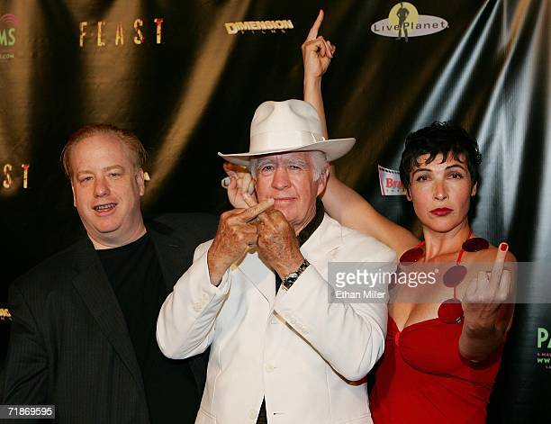 Director and Project Greenlight winner John Gulager his father actor Clu Gulager and actress Diane Goldner joke with photographers as they arrive at...