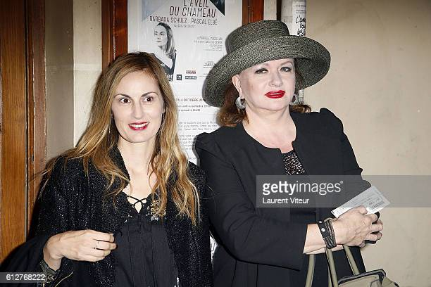 Director and Screen Writer Flavia Coste and Actress Catherine Jacob attend 'L'Eveil du Chameau' Theater Play at Theatre de L'Atelier on October 4...