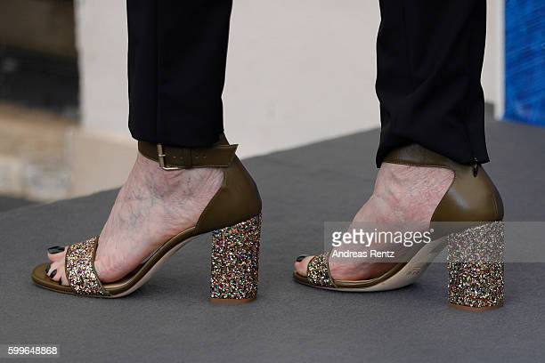 Director and screenwriter Laurie Simmons shoes detail attends a photocall for 'My Art' during the 73rd Venice Film Festival at on September 6 2016 in...