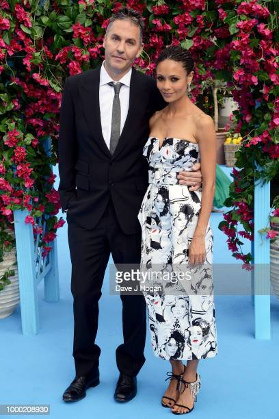 Director and screenwriter Ol Parker and Thandie Newton attend the UK Premiere of Mamma Mia Here We Go Again at Eventim Apollo on July 16 2018 in...