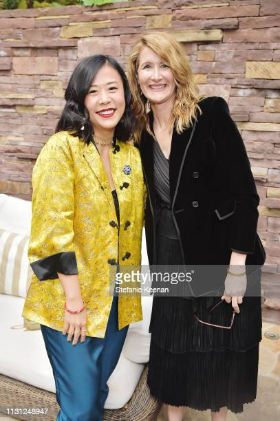 Director and Storyboard Artist Domee Shi and Laura Dern attend Diane von Furstenberg with The Academy Museum Celebrates Female Oscars Nominees at...