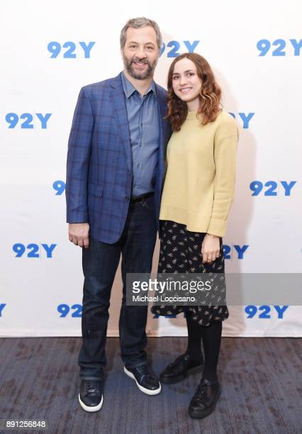 Director and writer Judd Apatow and daughter Maude Apatow pose before taking part in a 92nd Street Y Talks at 92nd Street Y on December 12 2017 in...
