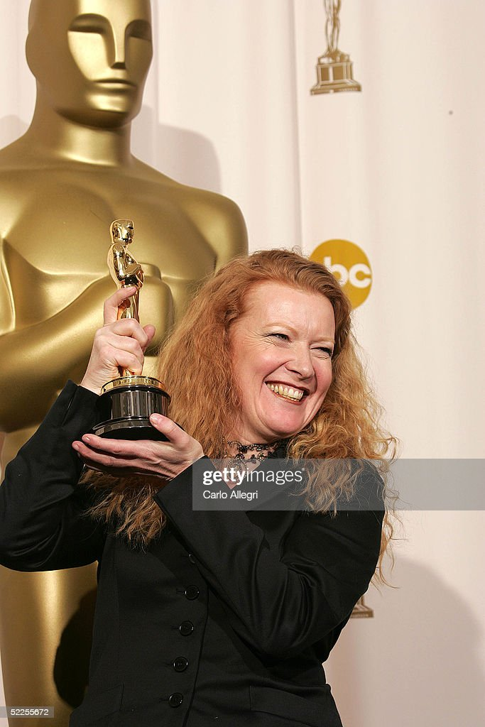 Director Andrea Arnold poses with her 'Best Live Action Short Film' award for 'Wasp'backstage during the 77th Annual Academy Awards on February 27, 2005 at the Kodak Theater in Hollywood, California.