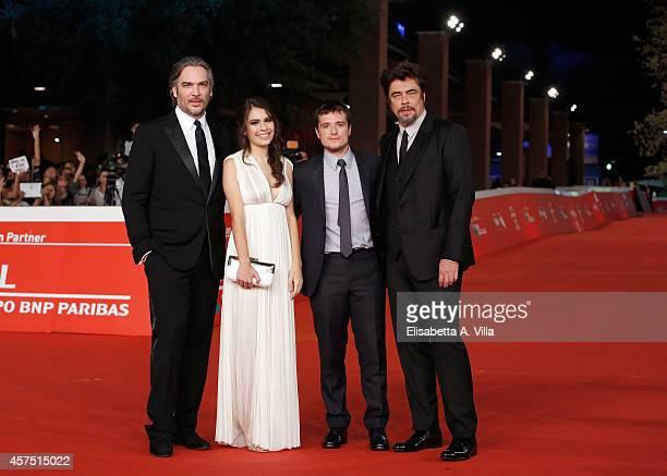 Director Andrea Di Stefano actress Claudia Traisac actors Josh Hutcherson and Benicio Del Toro attend 'Escobar Paradise Lost' Red Carpet during the...