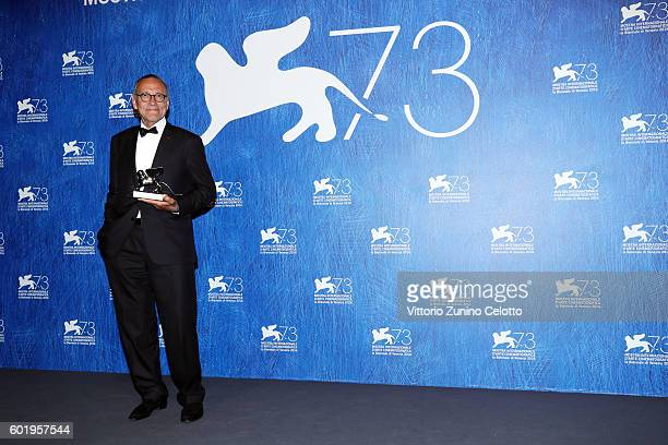 Director Andrei Konchalovsky poses with Silver Lion for Best Director for his movie 'Paradise' as he during the 73rd Venice Film Festival at Palazzo...