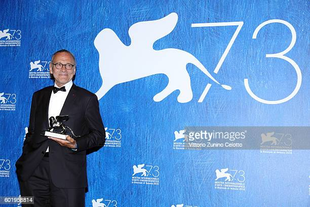Director Andrei Konchalovsky poses with the Silver Lion for Best Director for 'Paradise' during the award winners photocall during the 73rd Venice...