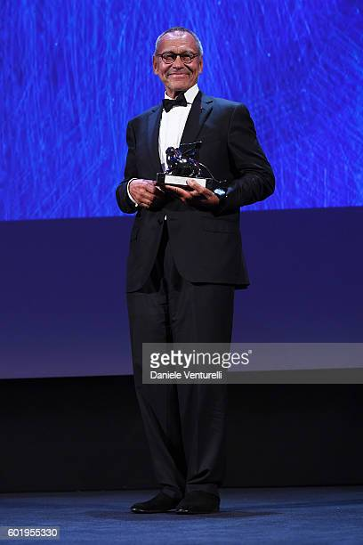 Director Andrei Konchalovsky receives the Silver Lion for Best Director for 'Paradise' during the closing ceremony of the 73rd Venice Film Festival...