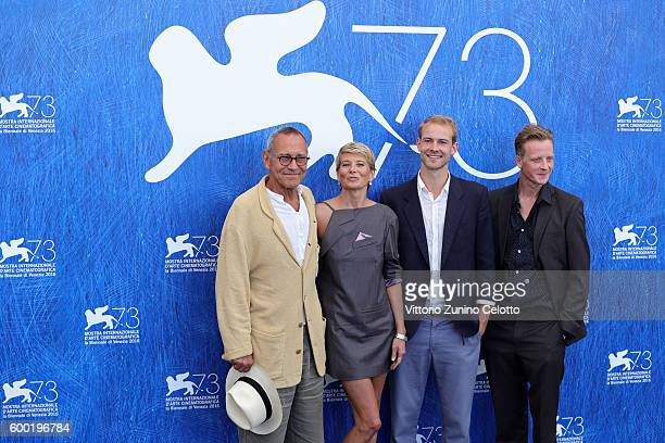 Director Andrej Koncalovskij actors Julia Vysotskaya Christian Clauss and Jakob Diehl attend a photocall for 'Paradise' during the 73rd Venice Film...