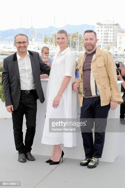 Director Andrej Zvjagincev actress Maryana Spivak and Alexei Rozin attend the Loveless photocall during the 70th annual Cannes Film Festival at...