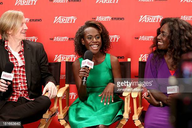 Director Andrew Adamson and actresses Healesville Joel and Xzannjah Matsi attend Variety Studio presented by Moroccanoil at Holt Renfrew on Day 2 at...