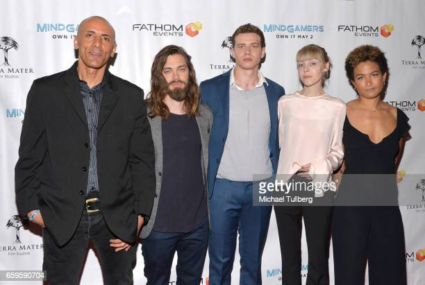 Director Andrew Goth actors Tom Payne Oliver Stark and Antonia CampbellHughes and producer Anouk Shad attend Fathom Events and Terra Mater Film...