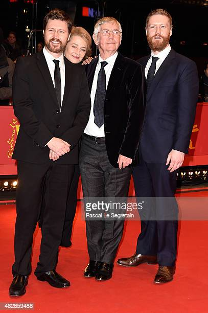 Director Andrew Haigh actors Charlotte Rampling Tom Courtenay and producer Tristan Goligher attend the '45 Years' premiere during the 65th Berlinale...