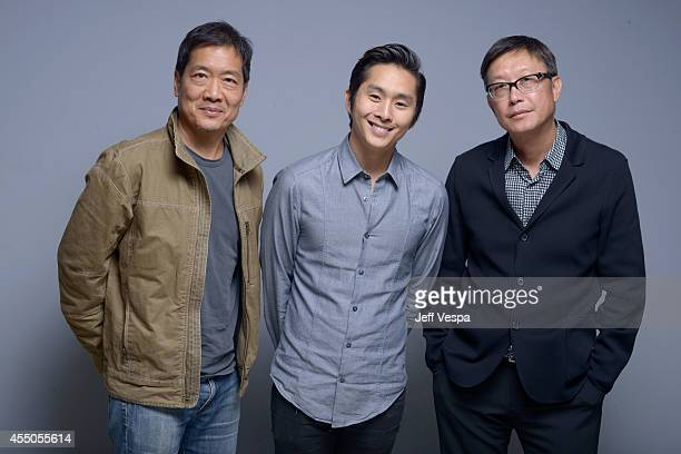 Director Andrew Loo actor Justin Chon and director Andrew Lau of Revenge of the Green Dragons pose for a portrait during the 2014 Toronto...