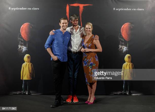 Director Andy Muschietti actor Javier Botet and producer Barbara Muschietti attend the 'It' photocall at Santo Mauro hotel on August 31 2017 in...