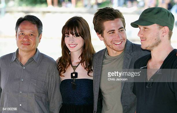 Director Ang Lee actors Anne Hathaway Jake Gyllenhaal and Heath Ledger arrive for the photocall for the film Brokeback Mountain on the third day of...