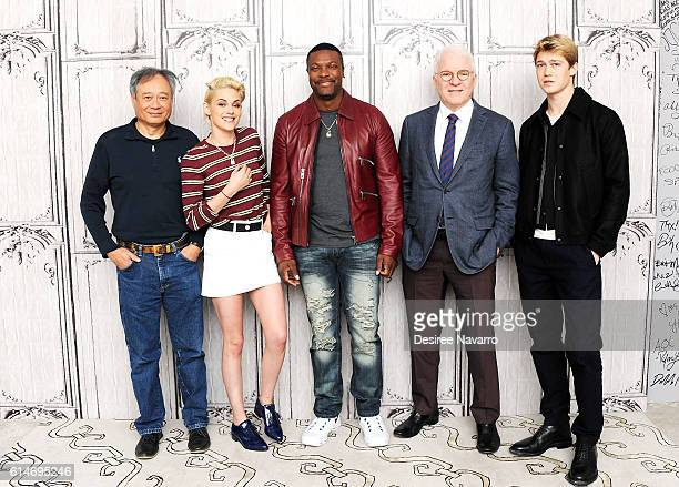 Director Ang Lee actors Kristen Stewart Chris Tucker Steve Martin and Joe Alwyn attend The Build Series Presents 'Billy Lynn's Long Halftime Walk' at...