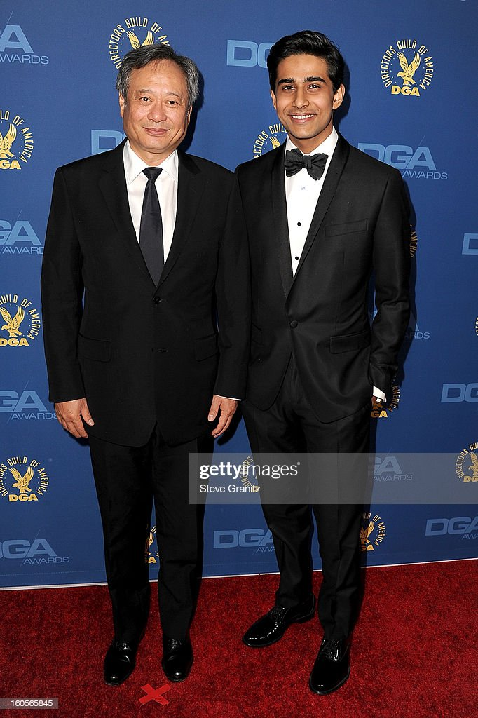 Director Ang Lee (L) and actor Suraj Sharma attend the 65th Annual Directors Guild Of America Awards at The Ray Dolby Ballroom at Hollywood & Highland Center on February 2, 2013 in Hollywood, California.
