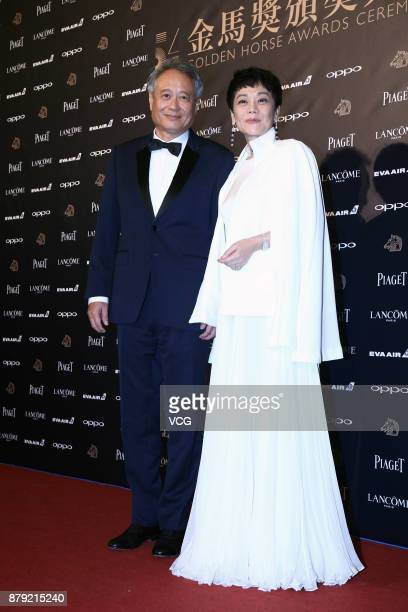 Director Ang Lee and director/actress Sylvia Chang pose backstage during the 54th Golden Horse Awards ceremony on November 25 2017 in Taipei Taiwan...