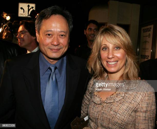 Director Ang Lee and Universal Pictures Chairman Stacy Snider arrives at the premiere of Brokeback Mountain at the Mann National Theater on November...