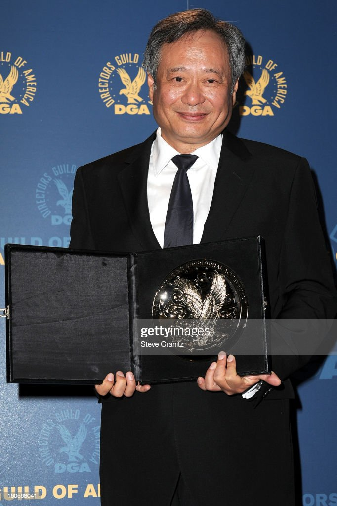 Director Ang Lee, recipient of the Feature Film Nomination Plaque for Life of Pi,' poses in the press room at the 65th Annual Directors Guild Of America Awards at The Ray Dolby Ballroom at Hollywood & Highland Center on February 2, 2013 in Hollywood, California.